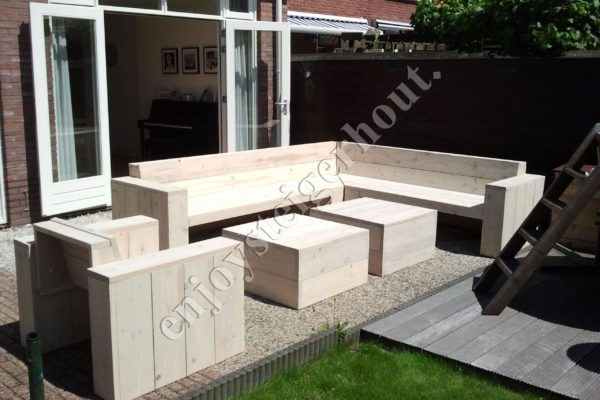 Loungebank ENJOY hoek - Enjoy Steigerhout - 1
