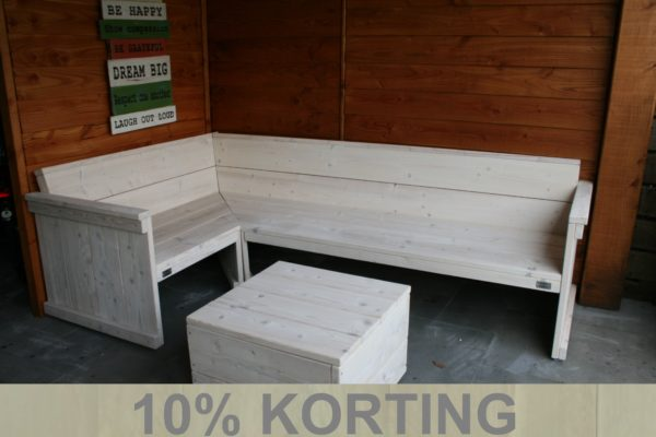 Budget hoekbank - Enjoy Steigerhout - 1 - actie